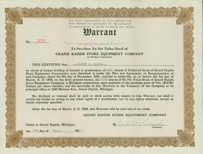 Stock Certificate, Grand Rapids Store Equipment Company