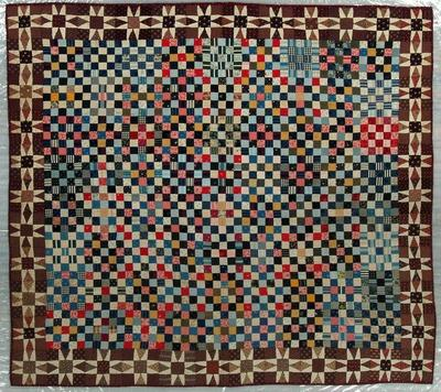 Pieced Quilt, Postage Stamp With Sun Ray Border