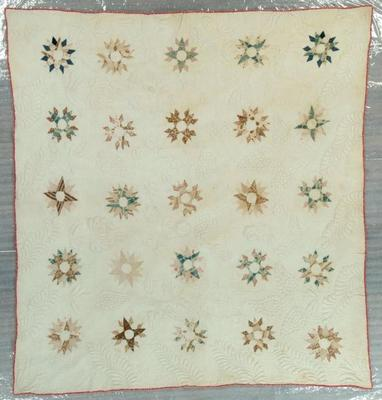 Pieced And Stuffed Quilt, Mariner's Compass