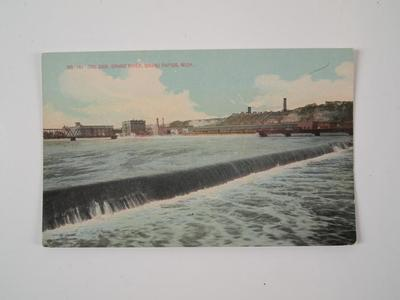Postcard, The Dam, Grand River, Grand Rapids, Michigan