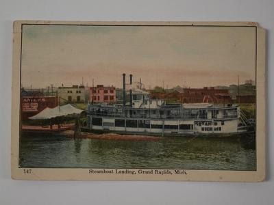 Postcard, 'steamboat Landing, Grand Rapids, Michigan'