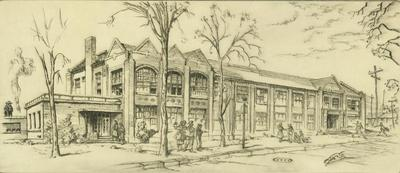 Print, 'arts And Crafts Building (central Michigan Engineering  College) - State I' (1 Of 3)