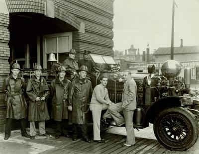 Photograph, Wood Radio Interviews Fireman