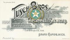 Trade Card, Tusch Brothers Cincinnati Brewery