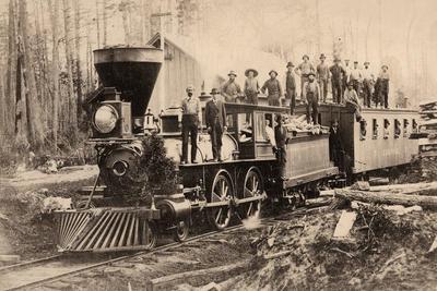 Photograph, Men Standing On Wood Burning Steam Engine