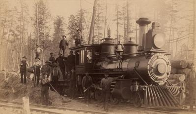 Photograph, Wood Burning Steam Engine in Boyne Falls, Michigan