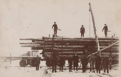Photograph, Telephone Poles On Flat Car