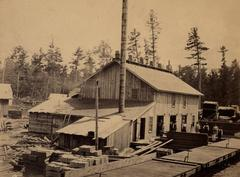 Photograph, Sawmill Building and Lumber Stacks