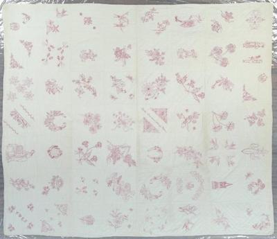 Pieced Quilt, Redwork Album, Mears, Michigan