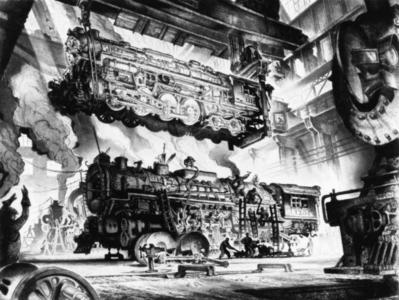 Print, 'Locomotive Shops - State IX Or X (Final; Edition State)' (9 Of 10)