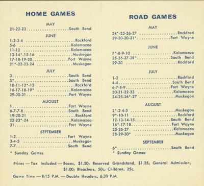 Official Baseball Schedule, South Field, Grand Rapids Chicks, All-American Girls Baseball League Archival Collection #66