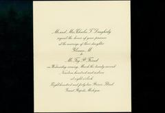 Wedding Invitation & Envelope. Glenna M. Daughterty And Mr. Fay P. Friend