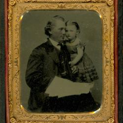 Cased Photograph, Unidentified Man And Child