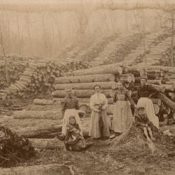 Photograph, Women and Children, Logging in Luther, Michigan