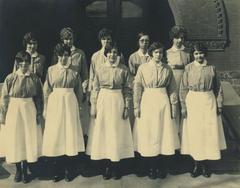 Photograph, Nurses Standing Outside Butterworth Hospital