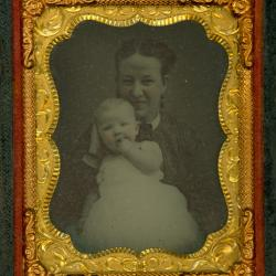 Cased Photograph, Unidentified Woman And Child