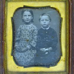Cased Photograph, Unidentified Boy And Girl