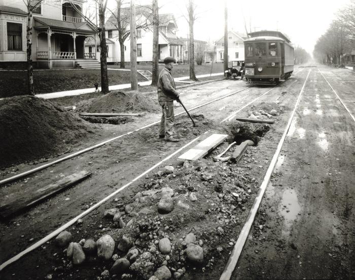 Photograph, Man Working On Streetcar Line