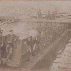 Photograph, Men on Mining Rail