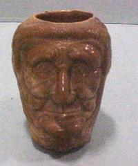 Old Woman Or Witch Head, Chocoloate Glass, Toothpick Holder