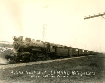 Photograph, Pennsylvania Railroad, Engine #8983, Pulling Cargo Of Leonard Refrigerators