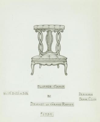 Drawing, Slipper Chair, Designed by Frank C. Lee