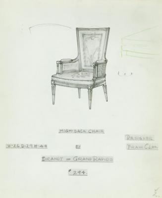 Drawing, High Back Chair, Designed by Frank C. Lee