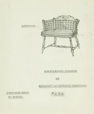 Drawing, Captains Chair, Designed by Frank C. Lee