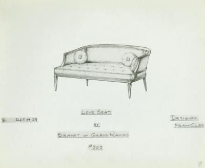 Drawing, Love Seat, Designed by Frank C. Lee