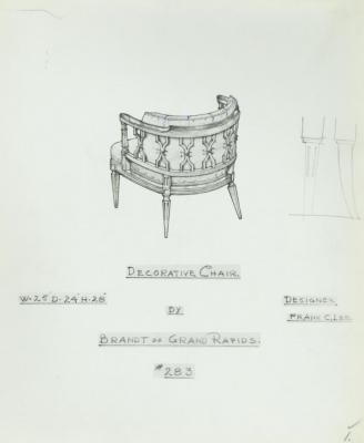 Drawing, Decorative Chair, Designed by Frank C. Lee