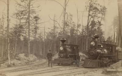 Photograph, Two Wood Burning Steam Engines