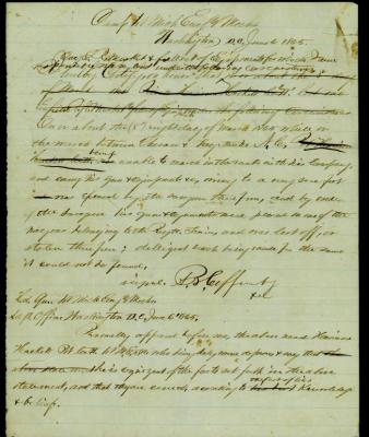 Civil war document , Captain Andrew B. Coffinberry relative to Pvt. Harrison Hackett CO. H 1st Michigan Engineers and Mechanics