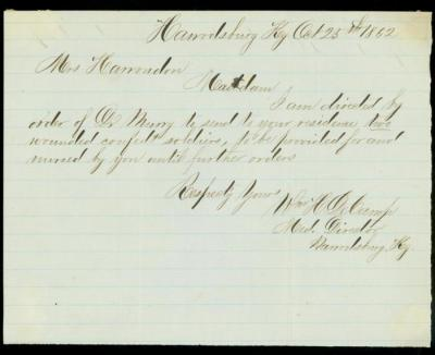 Civil War document by Surgeon William DeCamp requesting housing for wounded Confederate soldiers.