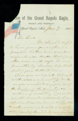 Civil War letter from Grand Rapids Eagle reporter Bates to Dr. William DeCamp