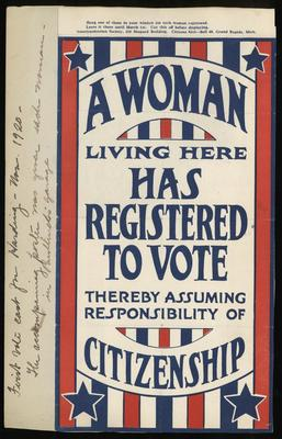 Poster, A Woman Living Here Has Registered To Vote