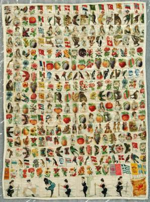 Pieced And Tied Novelty Quilt, Cigarette Premiums
