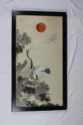 Framed Silk Embroidery Of Japanese Cranes And Pine Branches