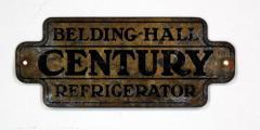 Brass Tag, Belding-Hall Century Refrigerator