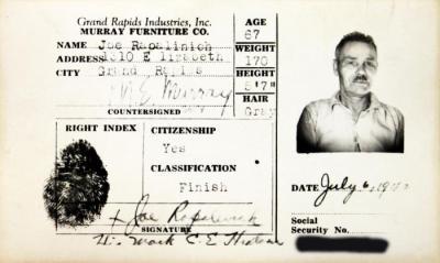 Identification Card, Joe Rapalinich