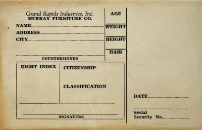 Identification Card, Murray Furniture Co., Blank