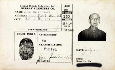 Identification Card, Joe Galomski