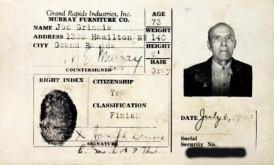 Identification Card, Joseph Grinnis