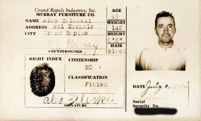 Identification Card, Alex Zalewski