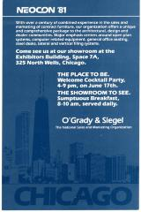 Invitation Card, Neocon Welcome Cocktail Party, O'Grady & Siegel