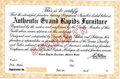 Certificate, Authentic Grand Rapids Furniture