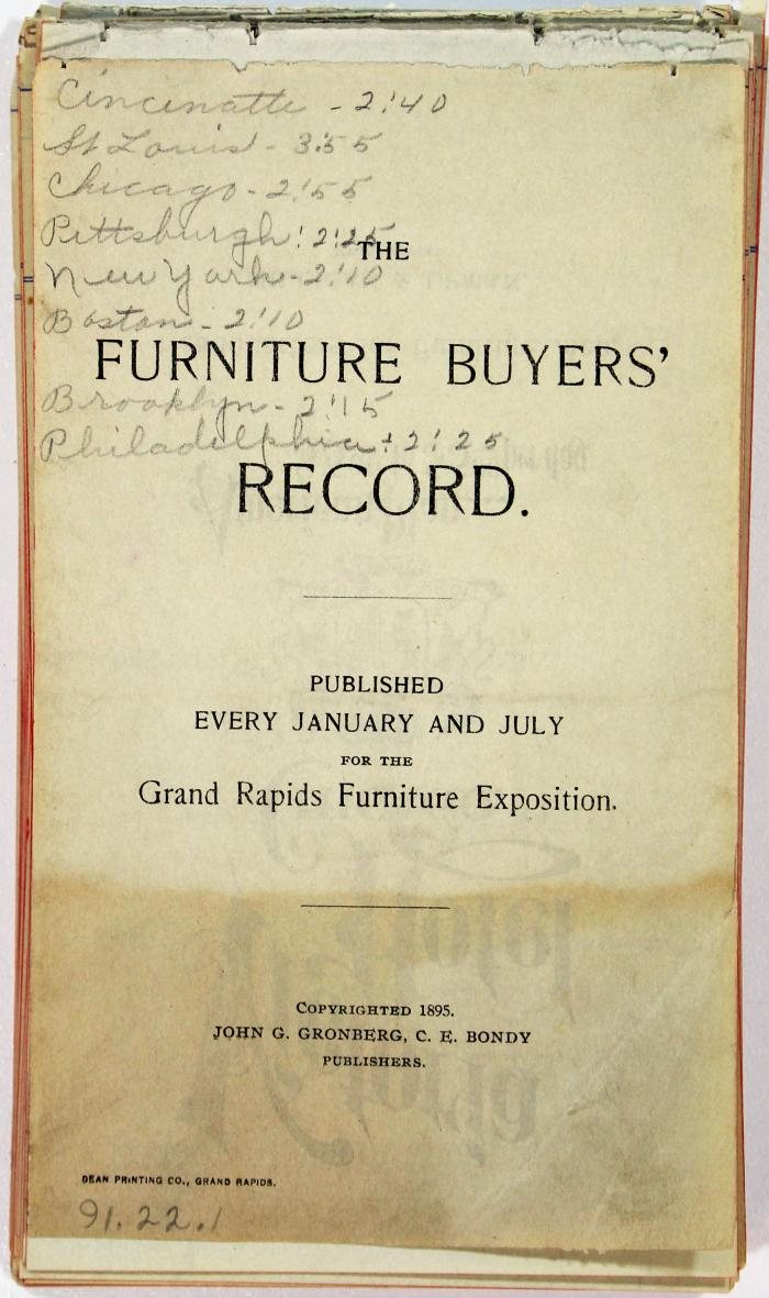 Booklet, The Furniture Buyer's Record
