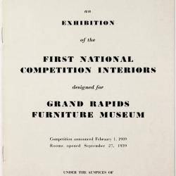 Brochure, First National Competition Interiors, Grand Rapids Furniture Museum