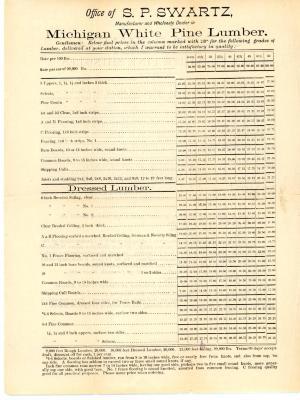 Price List, S. P. Swartz Company, Michigan White Pine Lumber and Shingles