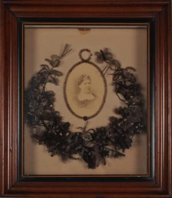 Hair And Seed Wreath, With Photograph Of Mrs. Henry Dennison