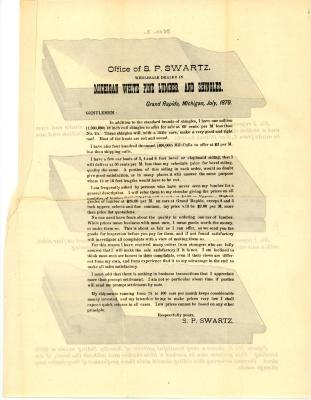 Form Letter, S. P. Swartz Company, Michigan White Pine Lumber and Shingles